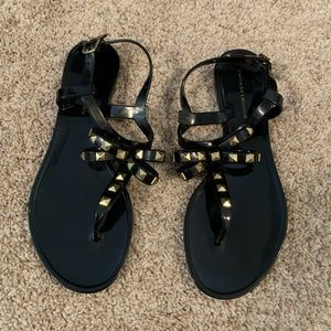 Black Sandals. Studded Bow Tie Design